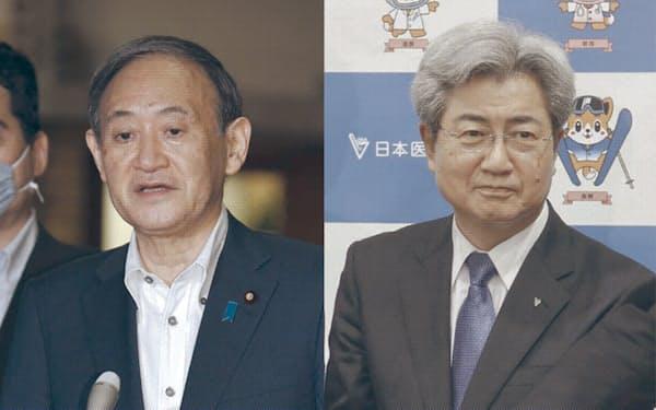 菅首相(写真左)と日本医師会の中川会長(同右)