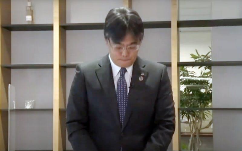 東証で発生したシステムトラブルについて、オンライン記者会見で謝罪する富士通の時田隆仁社長(5日)