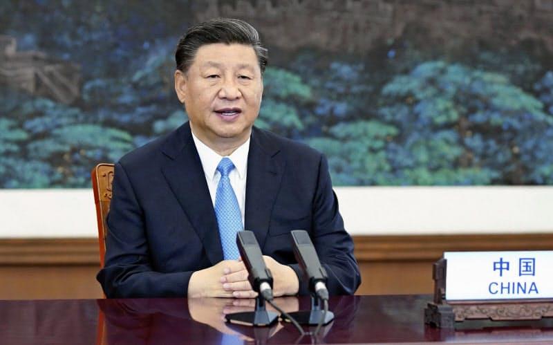 22日の国連総会一般討論で放映されたビデオで演説する中国の習近平国家主席(新華社=共同)