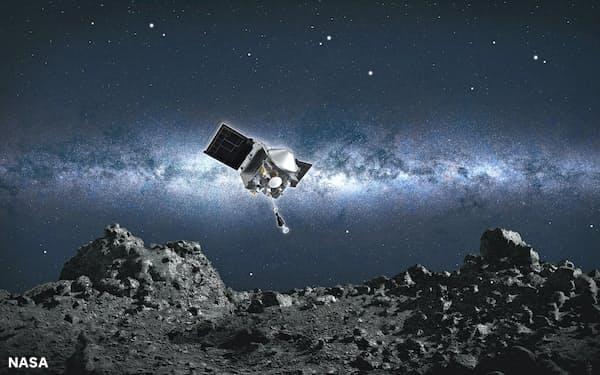 小惑星ベンヌに着陸するオシリス・レックスの想像図=NASA提供