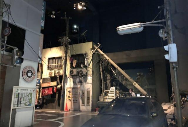 被災した街並みを再現したそなエリア東京の東京直下72h TOURの巨大ジオラマ空間