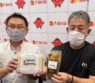食品スーパー「ショージ」のカツサンド新商品では記者会見の実施を提案した(東広島市)