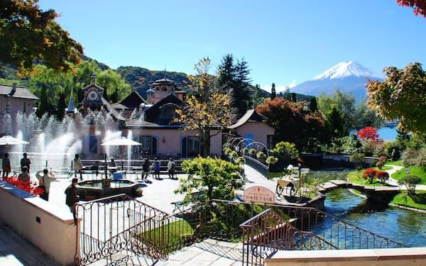 欧風の庭園からは富士山が望める