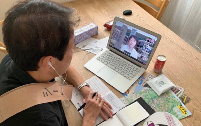琴平バスのオンラインバスツアー、パソコン画面を見ながらツアーに参加、やり取りもチャットで