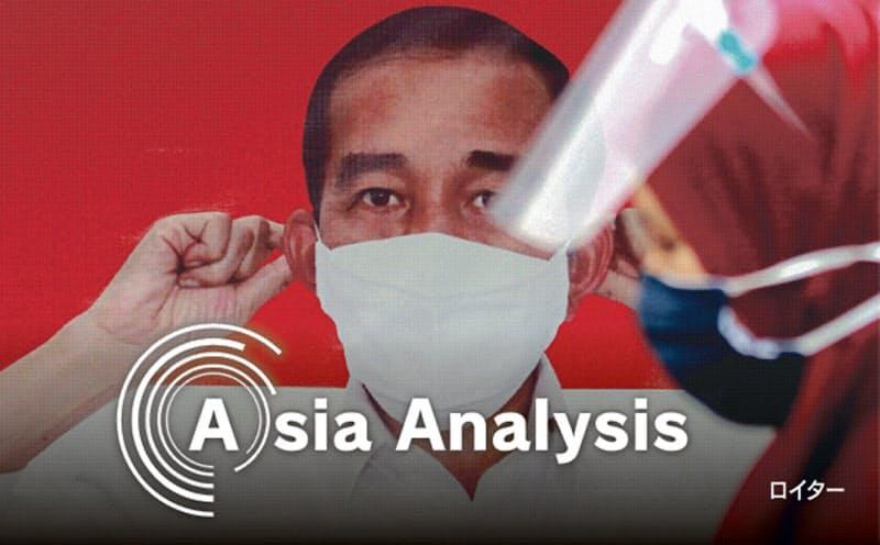 新型コロナ危機でインドネシア政府は財源確保に追われている(マスク着用を呼び掛けるジャカルタ市内のジョコ大統領のポスター)=ロイター