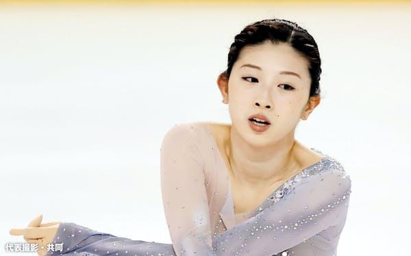 女子で優勝した永井優香のフリーの演技(10日、DyDoアリーナ)=代表撮影・共同