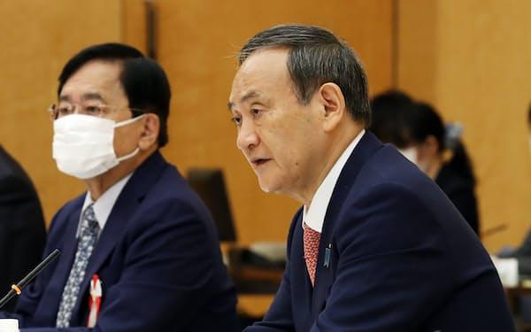 規制改革推進会議であいさつする菅首相(7日、首相官邸)