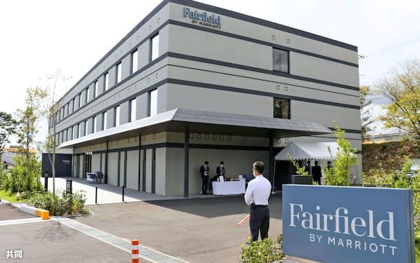 道の駅の隣にオープンしたホテル「フェアフィールド・バイ・マリオット・三重御浜」=12日、三重県御浜町