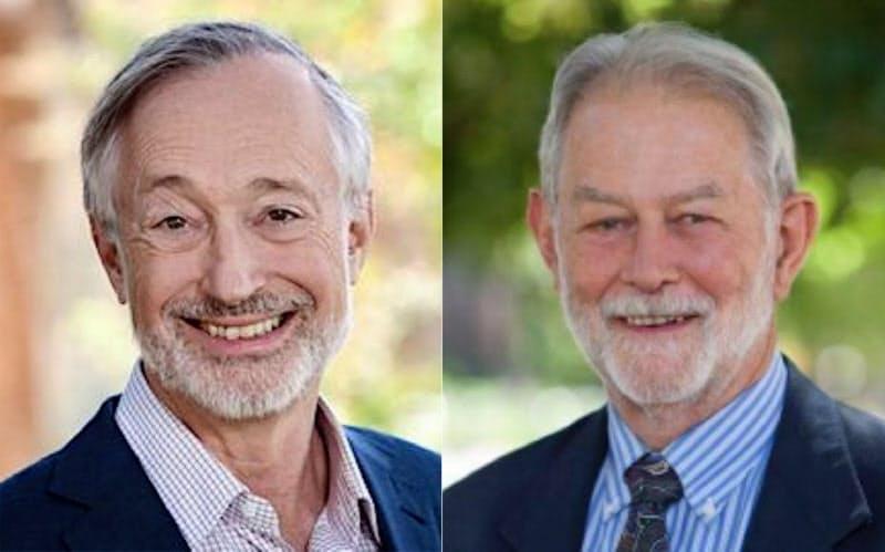 ポール・ミルグロム氏(写真左)とロバート・ウィルソン氏=米スタンフォード大ホームページより