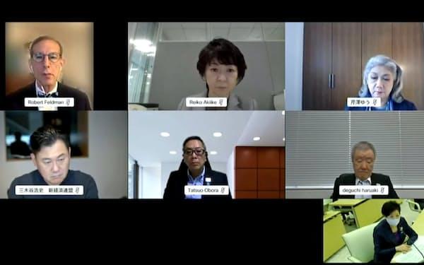 楽天の三木谷浩史氏らが参加する東京都の構造改革に関する有識者会議(9日、配信動画から)