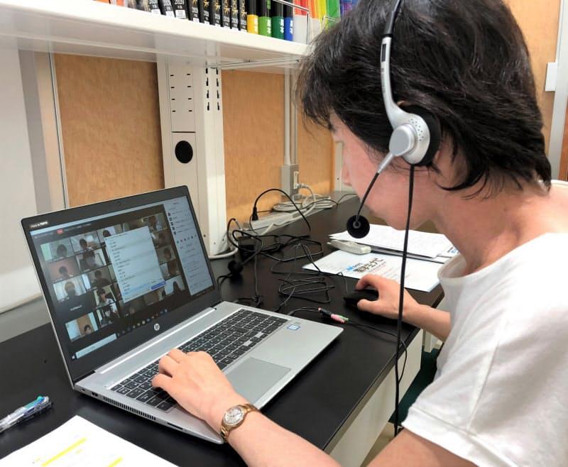 吉田林講師はオンライン講義でグループワークを重視した(7月下旬、横浜薬科大学)