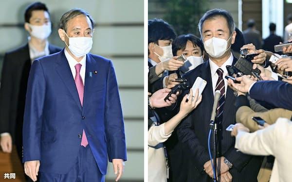 会談した菅首相(左)と日本学術会議の梶田隆章会長(16日午後、首相官邸)=共同