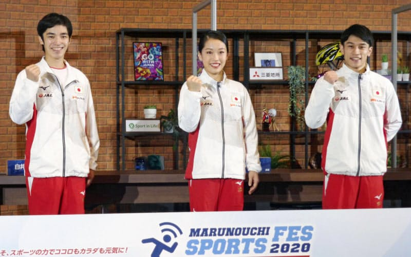 東京都内でイベントに出席した体操の(左から)白井健三、畠田瞳、谷川航(17日)=共同