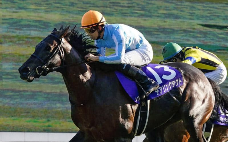 秋華賞を制し、史上初の無敗で牝馬3冠を達成したデアリングタクト(京都競馬場)=共同