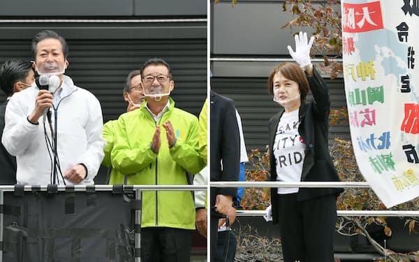 都構想の賛成を訴える公明党の山口代表と大阪維新の会代表の松井大阪市長(写真左)と反対を訴える自民党の北野大阪市議団幹事長(18日、大阪市)
