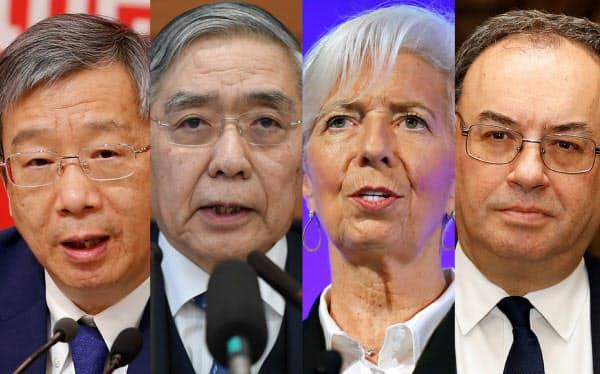 日本とユーロ圏、英国、中国の中央銀行総裁はオンラインで議論した。(写真右から)イングランド銀のベイリー、欧州中央銀のラガルド、日銀の黒田、中国人民銀の易綱の4氏=ロイター