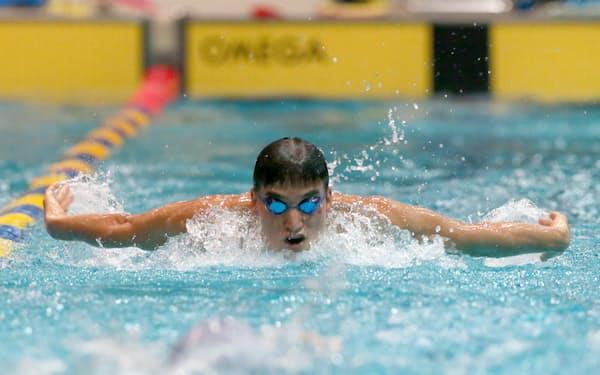 競泳で4つの五輪メダルを獲得した松田丈志さん(2012年4月、公開練習)