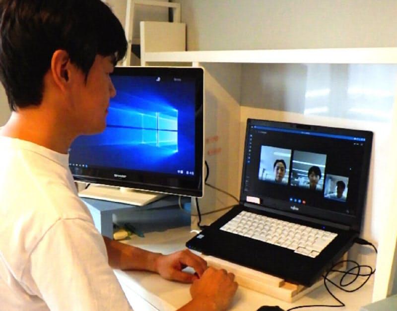 九州電力の染矢浩二さんは大分市の自宅で隔週でテレワークするようになった