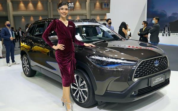 トヨタ自動車はタイで販売シェアが首位(7月、バンコクの自動車展示会)