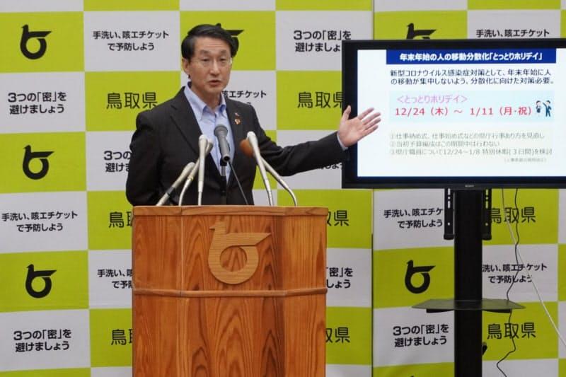 「とっとりホリデイ」を説明する平井知事