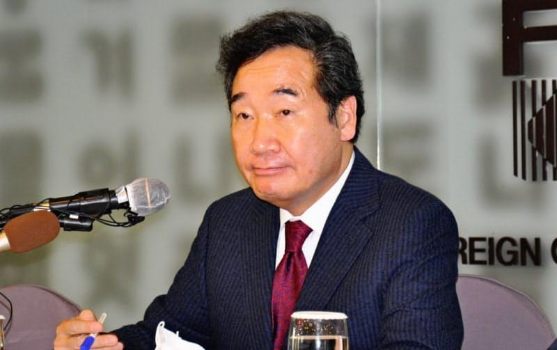 韓国与党「共に民主党」の李洛淵代表(21日、ソウル)