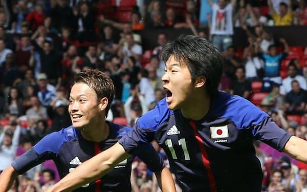 サッカー男子準々決勝、エジプト戦で先制ゴールを決め喜ぶ永井(2012年8月4日)