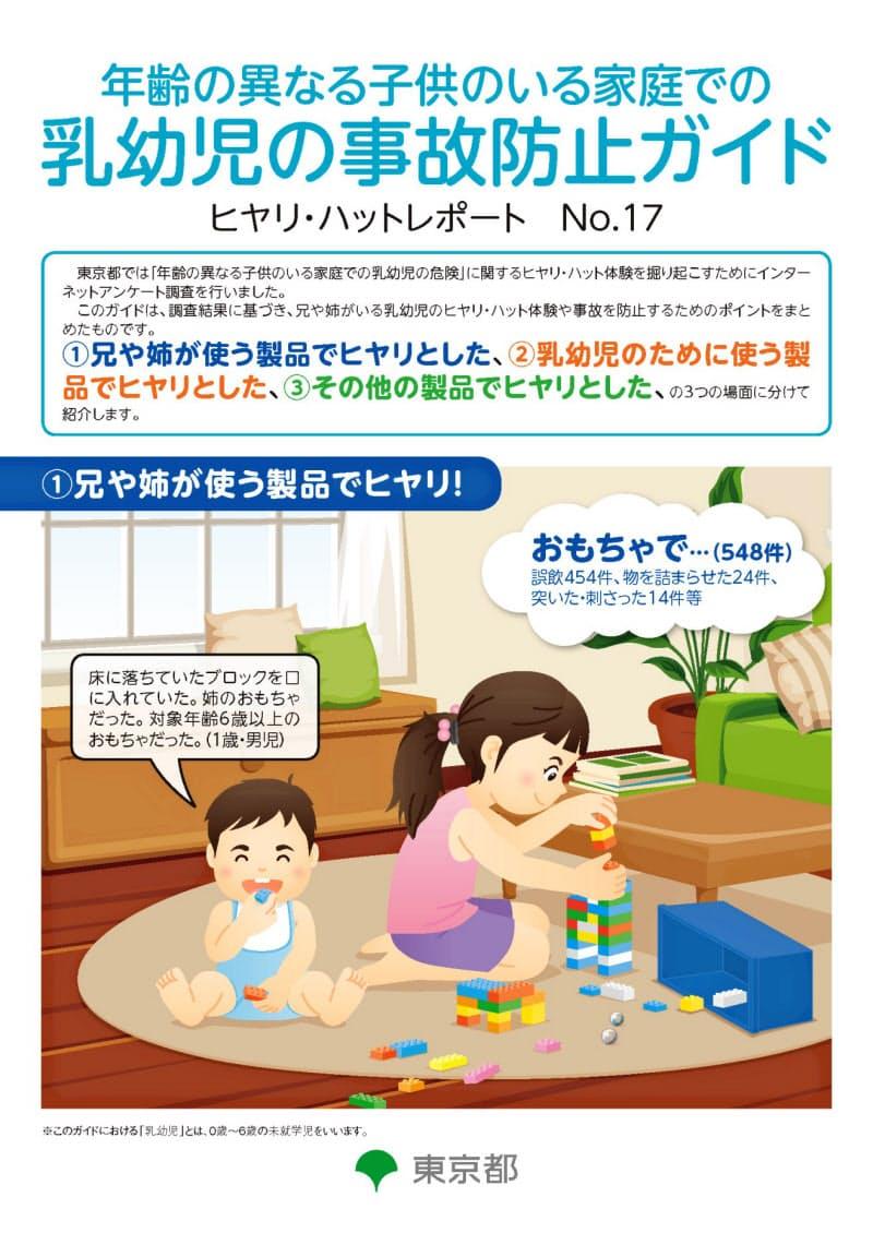 乳幼児が兄や姉の道具を誤って使ったことによる事故などの事例を紹介している