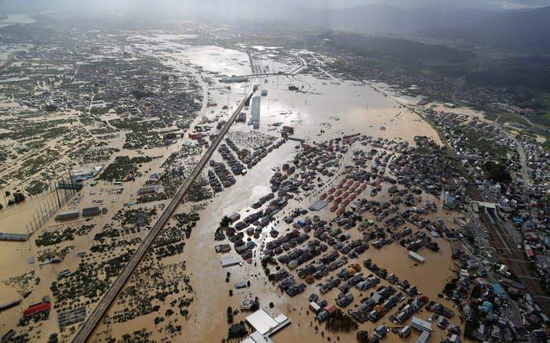浸水した市街地(2019年10月、長野市)