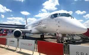 三菱航空機の三菱スペースジェット(19年6月、パリ国際航空ショー)