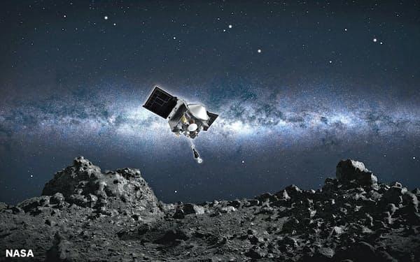 小惑星ベンヌに着陸するオシリス・レックスの想像図(NASA提供)