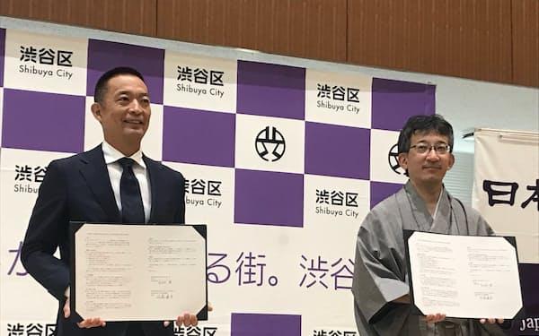 連携協定を結んだ渋谷区の長谷部区長(左)と日本将棋連盟の佐藤会長