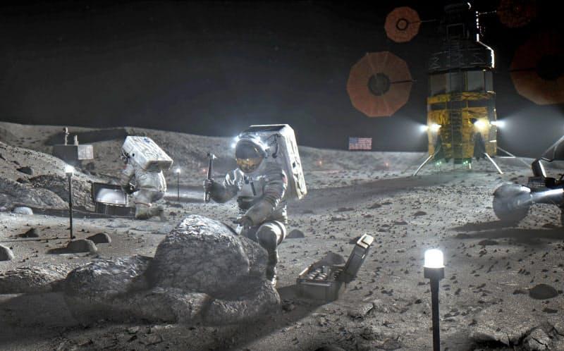 米国のアルテミス計画で、月面に着陸した宇宙飛行士のイメージ図=NASA提供・共同