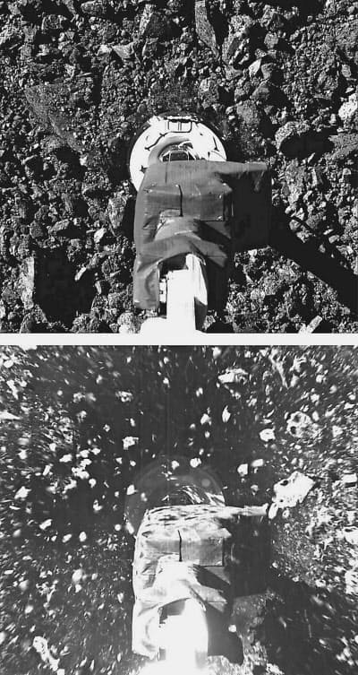 惑星ベンヌに接地する探査機オシリス・レックスの採取装置(上)と、飛び散る岩石(NASA/アリゾナ大提供・共同)