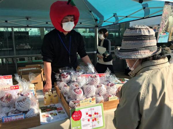 りんご農家におすすめを聞きながら購入を検討する客