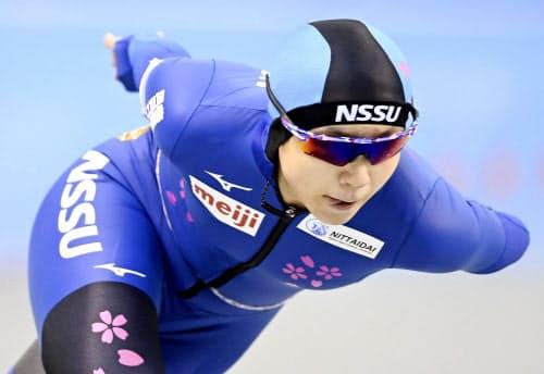 女子1000メートルで優勝した高木美帆(24日、エムウエーブ)=代表撮影・共同