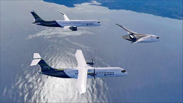 欧州エアバスは水素を燃料にした飛行機の事業化計画を公表した=同社提供