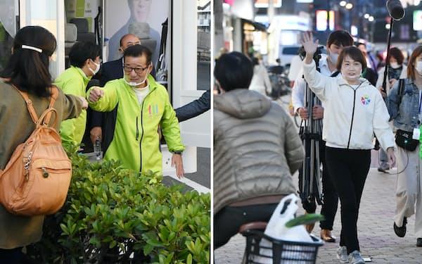 街頭で支持者らの声援に応える大阪維新の会代表の松井一郎大阪市長(写真左)と商店街で有権者らに手を振る自民党の北野妙子大阪市議団幹事長=いずれも25日、大阪市
