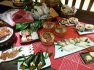 星野リゾート青森屋が提供する予定の料理の一部と食材