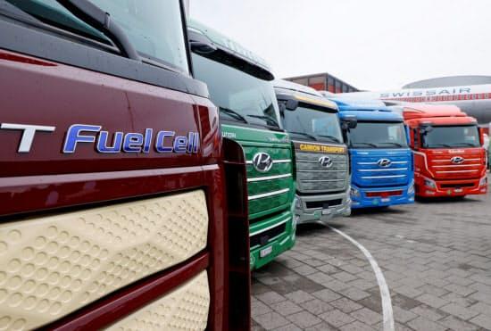 水素を使う燃料電池トラック(スイス)=ロイター