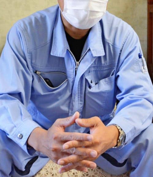公判への思いを語る石橋建設工業社長の石橋秀文さん(8月、北九州市)=共同
