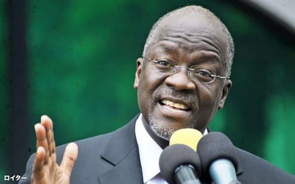 28日投票の大統領選で再選を目指すタンザニアのマグフリ大統領=ロイター