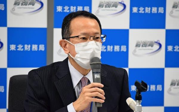 東北財務局の原田健史局長(27日、仙台市)