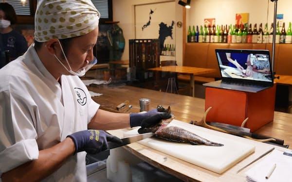 オンラインで魚のさばき方を教える魚谷屋(東京都中野区)