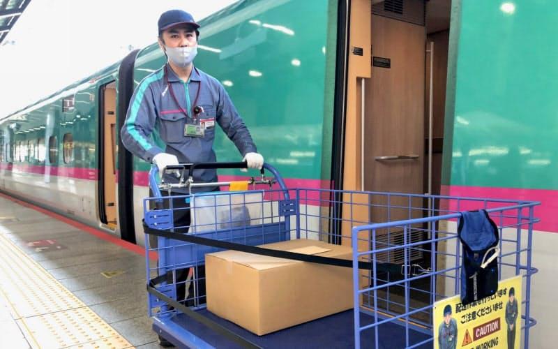 新幹線を使い、郡山駅から東京駅に届いた農産物