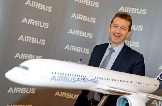 エアバスは需要減に対応して1万5千人を削減する(同社のフォーリCEO、2月)=ロイター