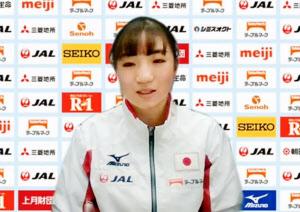 11月の国際大会に向け、オンラインで記者会見する体操女子の寺本明日香(29日)=共同