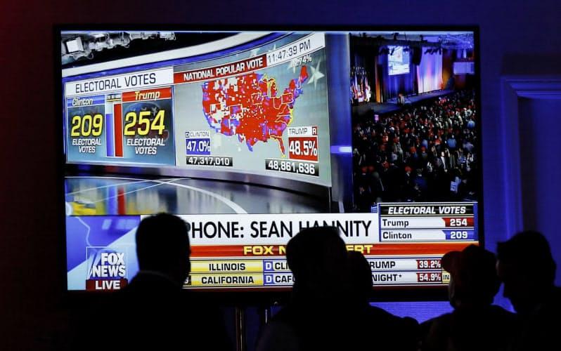 混戦となった2016年大統領選。米国民はテレビの開票速報にくぎ付けになった=ロイター