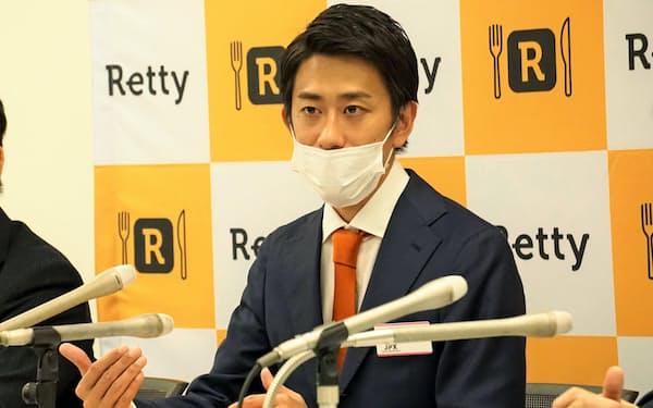 記者会見するレッティの武田和也社長(30日)