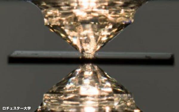 室温超電導を実現した超高圧実験装置。ダイヤモンドで挟んだ小さな空間に試料を閉じ込めた(米ロチェスター大提供)