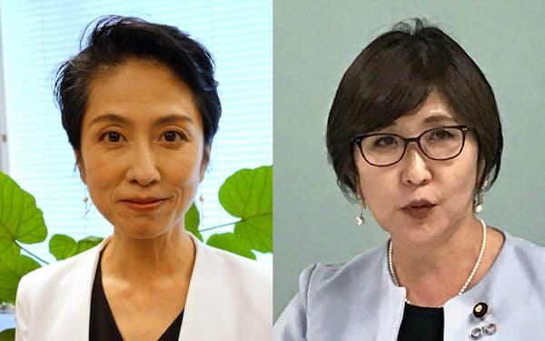 立民・代表代行蓮舫氏(左)と自民党の稲田朋美衆院議員